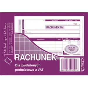 Rachunek A6 dla zwol.z VAT...
